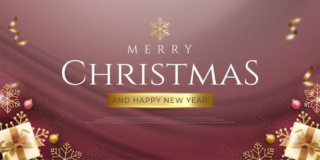 Счастливого рождества реалистичный баннер с золотой темой рождественского элемента украшения