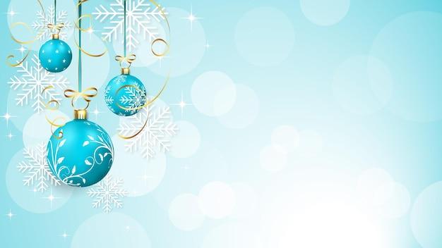 메리 크리스마스 현실적인 파란색 배경