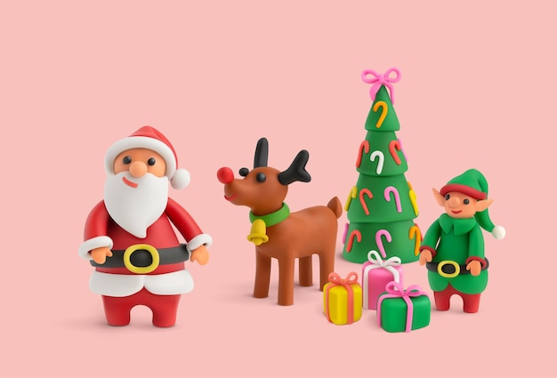 Merry christmas realistic illustration with cute plasticine figures of santa claus fawn and decorated christmas tree