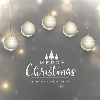 메리 크리스마스 현실적인 반짝 축제 인사말 카드