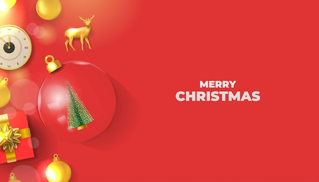 Merry christmas realistic vector decoration background