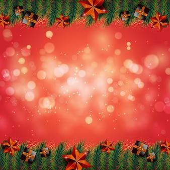 メリークリスマス赤い背景バナーフレーム金色のリアルな装飾要素ベクトル