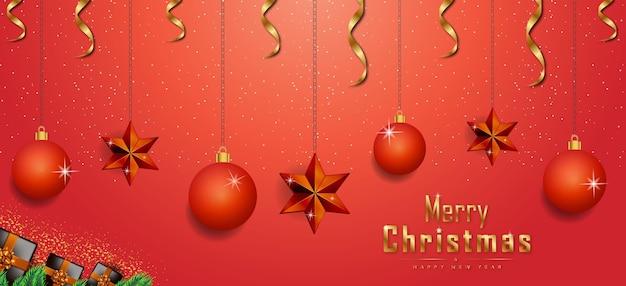 ゴールデンリアルな装飾要素プレミアムベクトルとメリークリスマス赤の背景バナー