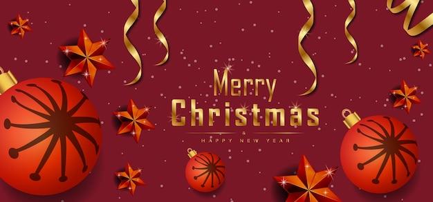 現実的なクリスマスの要素プレミアムベクトルとメリークリスマス赤い背景バナー