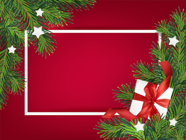 Merry christmas red background  illustration, with a mesh gift box