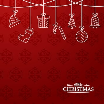 Merry christmas red background outline