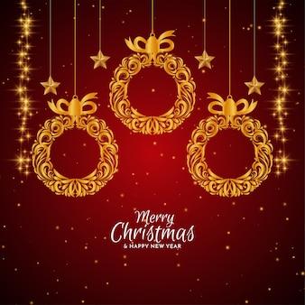金色のクリスマスボールとメリークリスマスの赤い背景