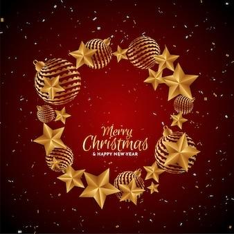 金色の装飾品とメリークリスマスの赤い背景