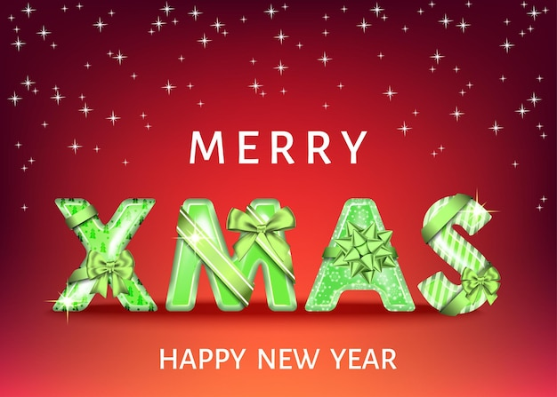 Merry christmas red background with green decorative letters with  gift bow, ribbon. xmas text. winter holiday decoration. vector greeting card template.