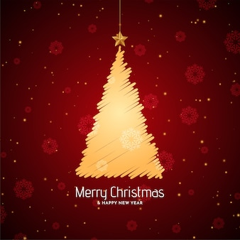 Merry christmas red background with sketch tree design