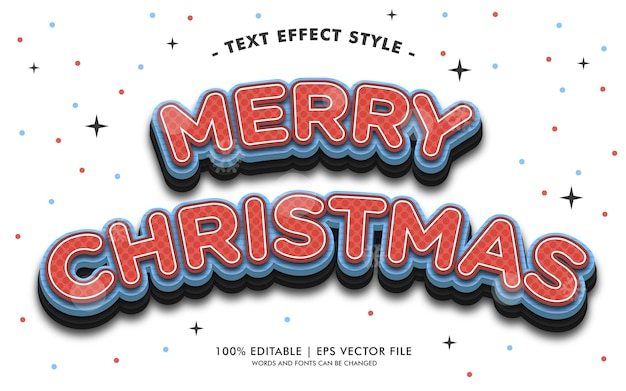 Merry christmas red and blue text effects style