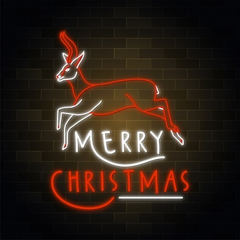 Merry christmas red color line art style neon