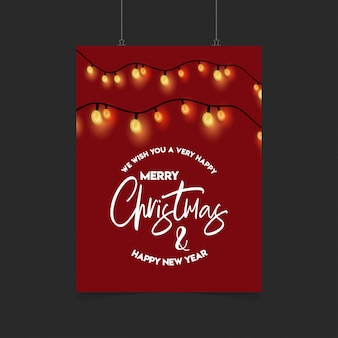 Merry christmas red decoration ligh poster template