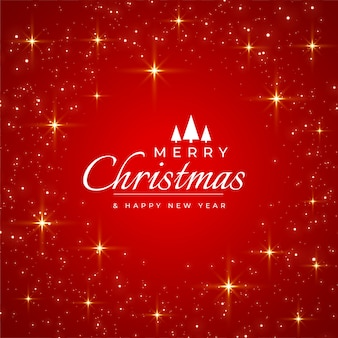 きらめきとメリークリスマス赤いグリーティングカード