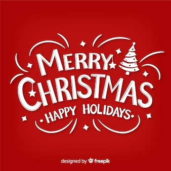 Merry christmas red lettering background