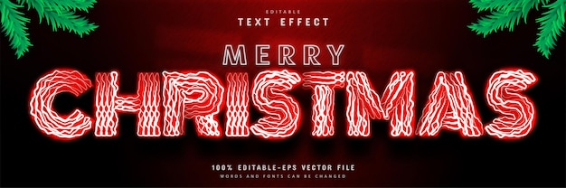 Merry christmas red neon text effect