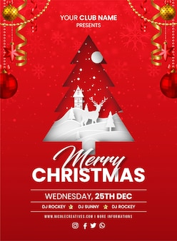 Merry christmas red party invitation card, poster or flyer template