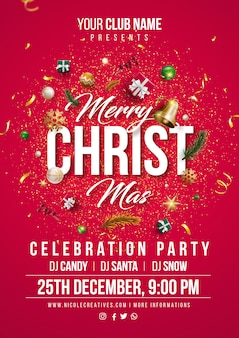 Merry christmas red party poster or flyer template.