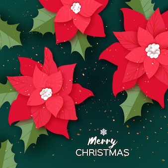 Merry christmas red poinsettia flowers greetings card. holly leaves. winter holidays. happy new year season. christmas party invitation or banner. empty space. vector