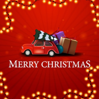 Merry christmas, red square greeting card with red vintage car carrying christmas tree