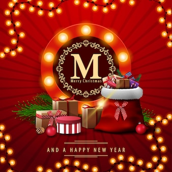 Merry christmas, red square greeting card with santa claus bag with presents. greeting card with round logo with bulbs