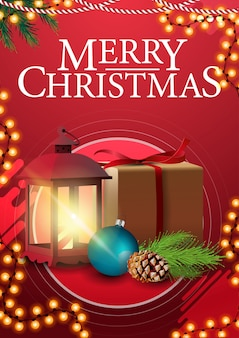 Merry christmas, red vertical greetings poster with frame garland