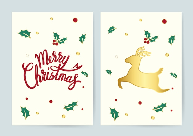 Merry christmas and a reindeer card vector
