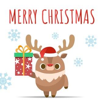 메리 크리스마스, 순 록 선물을주는.