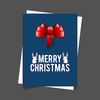 Merry christmas reindeer and ribbon banner background