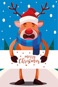 Merry christmas reindeer with banner , winter season and decoration theme
