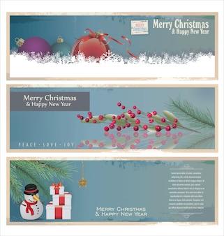 Merry christmas retro banner