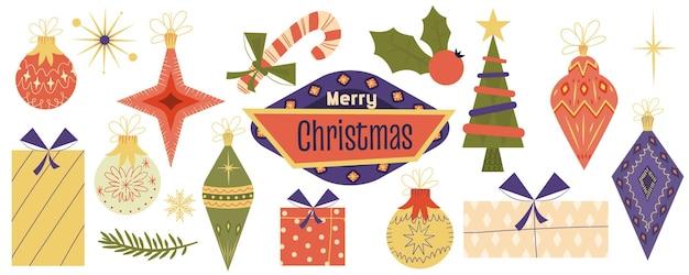 メリークリスマスレトロジュエリーセットの装飾クリスマスツリーおもちゃヒイラギヴィンテージスタイル