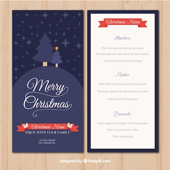 Merry christmas retro menu