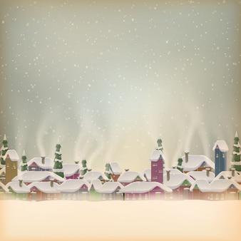 Merry christmas retro postcard village.