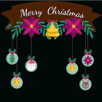 ツリーサンタスター鹿の装飾と雪玉がぶら下がっているメリークリスマスリボン