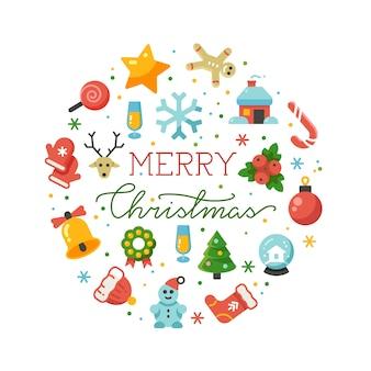 메리 크리스마스 라운드 흰색 절연 플랫 아이콘 배경