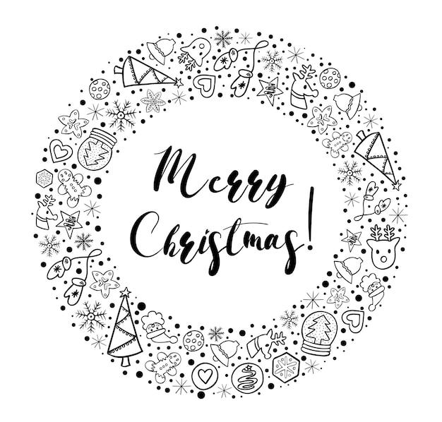 Merry christmas in round border of winter hand drawn doodles