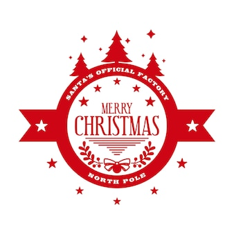 Merry christmas  round stamp template for holiday handmade gifts vector illustration