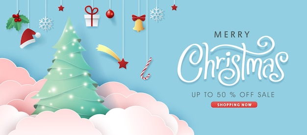 Merry christmas sale banner background.merry christmas text calligraphic lettering.
