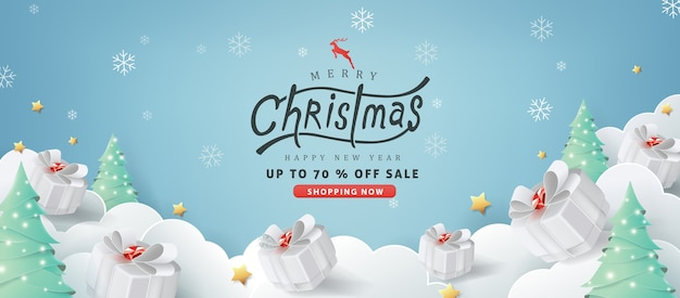 Merry christmas sale banner background.