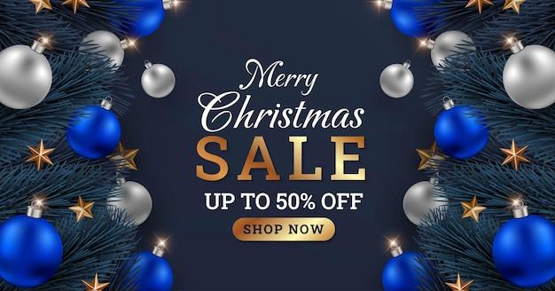 Merry christmas sale banner design illustration