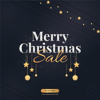 Merry christmas sale banner design with decorative ornaments and stars