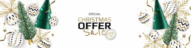 Merry christmas sale banner template. greeting card, banner, poster, header for website.
