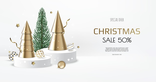 Merry christmas sale banner template. greeting card, banner, poster, header for website