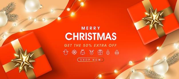 クリスマスのお祝いの装飾が施されたメリークリスマスセールバナーテンプレート