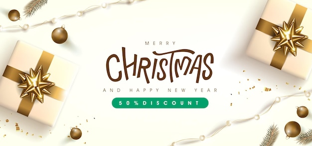 Merry christmas sale banner template with golden festive decoration for christmas