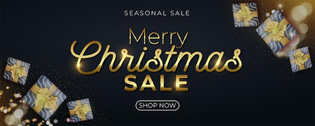 Merry christmas sale banner with gift boxes and gold glitter