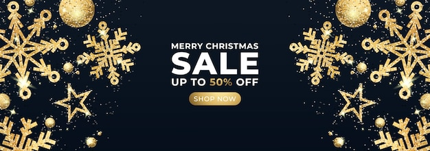 Merry christmas sale banner with glitter stars and gold confetti. vector