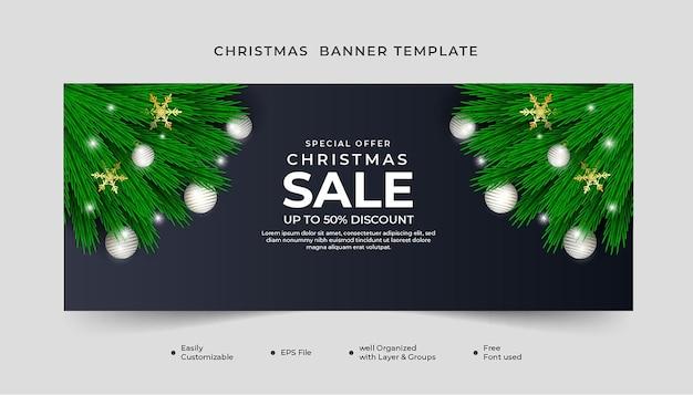 녹색 잎 흰색 공 및 눈송이와 메리 크리스마스 판매 배너