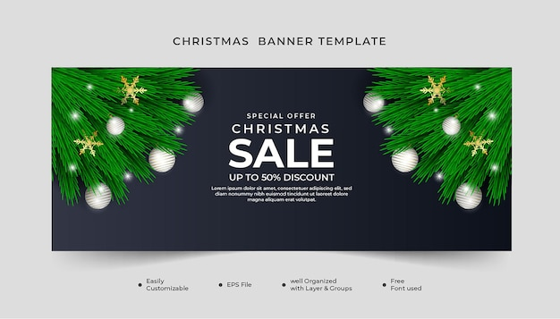 Merry christmas sale banner with green leaf white ball and snowflakes